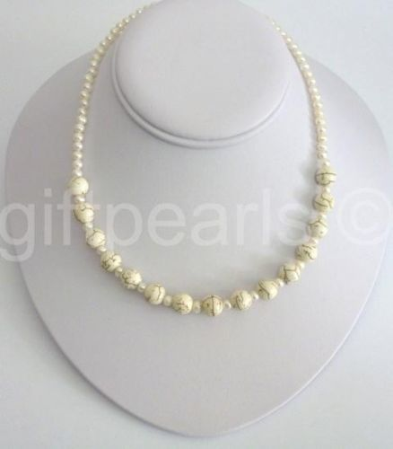 White turquoise and pearl necklace.
